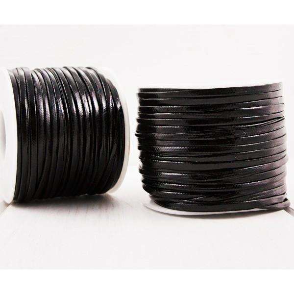 6.4 m 21ft 7yrd PU Noir en Cuir Doux Plat Cordon Bracelet Collier de Prise d'Artisanat de 2mm x 1mm - Photo n°1