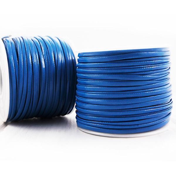 6.4 m 21ft 7yrd Bleu PU Cuir Doux Plat Cordon Bracelet Collier de Prise d'Artisanat de 2mm x 1mm - Photo n°2