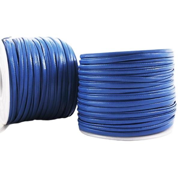 6.4 m 21ft 7yrd Bleu PU Cuir Doux Plat Cordon Bracelet Collier de Prise d'Artisanat de 2mm x 1mm - Photo n°1