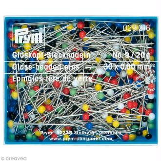 Épingle tête en verre multicolore n°9 - 30 x 0,6 mm - 20 g