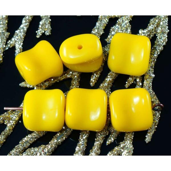 Tchèque Jaune Foncé Rectangle opaque motif perles en verre 18 x 11 mm pack de 5