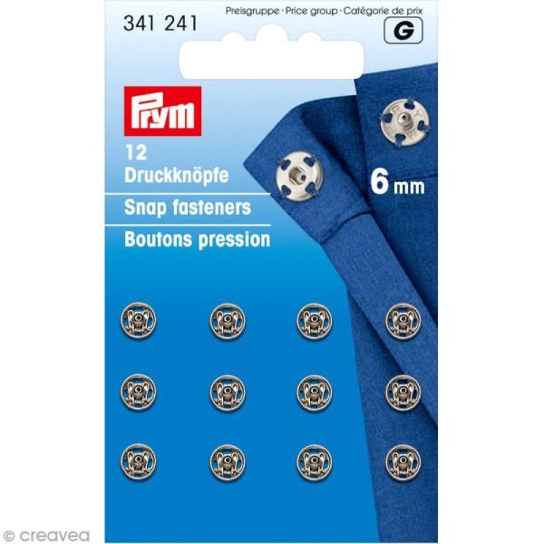 Bouton pression Prym à coudre - 6 mm argenté - 12 pcs - Photo n°1