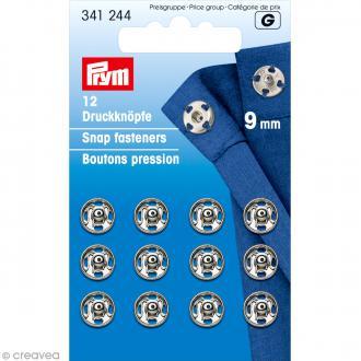 Bouton pression Prym à coudre - 9 mm argenté - 12 pcs