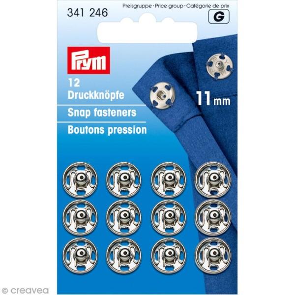 Bouton pression Prym à coudre - 11 mm argenté - 12 pcs - Photo n°1