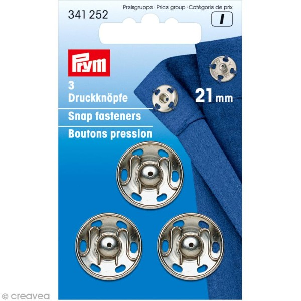 Bouton pression Prym à coudre - 21 mm argenté - 3 pcs - Photo n°1