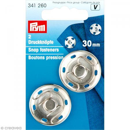 bouton pression prym coudre 30 mm argent 2 pcs boutons pression creavea. Black Bedroom Furniture Sets. Home Design Ideas