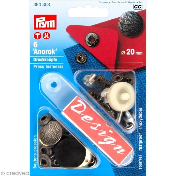 Bouton pression Prym anorak - 20 mm argenté vieilli - 6 pcs - Photo n°1