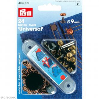 Rivet jeans - 9 mm cuivre veilli - 24 pcs