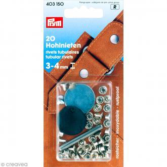 Rivet tubulaire pour épaisseur 3-4 mm - Argenté - 20 pcs