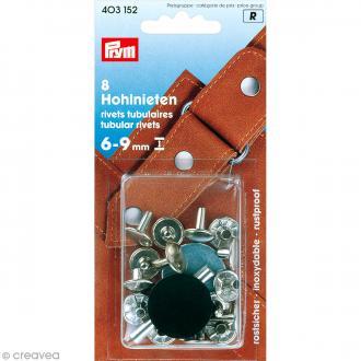 Rivet tubulaire pour épaisseur 6-9 mm - Argenté - 8 pcs