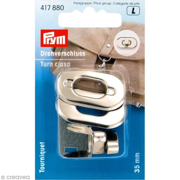 Fermoir tourniquet ovale pour sac - métal argenté 35 mm - 1 pce - Photo n°1