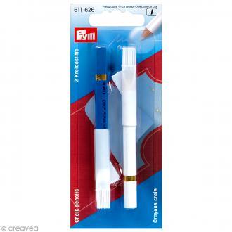 Crayons craie Bleu et blanc avec brosses - 11 cm