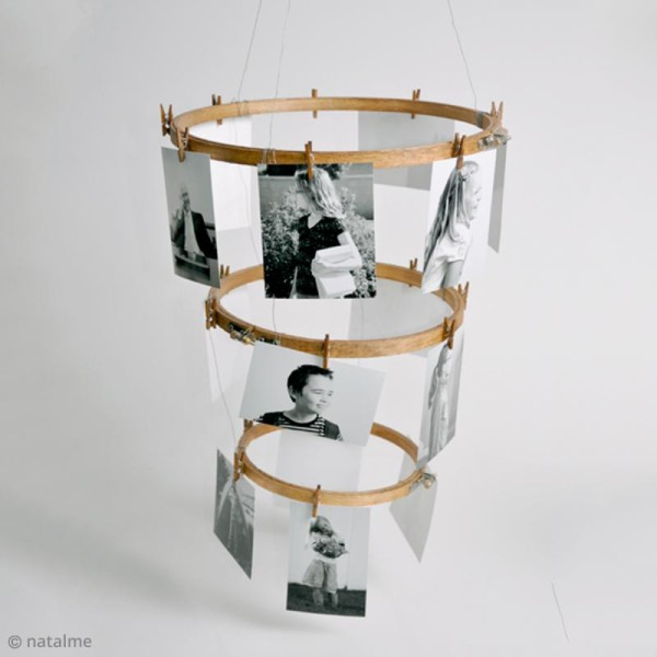 Tambour à broder rond en bois - 25 cm - Photo n°4