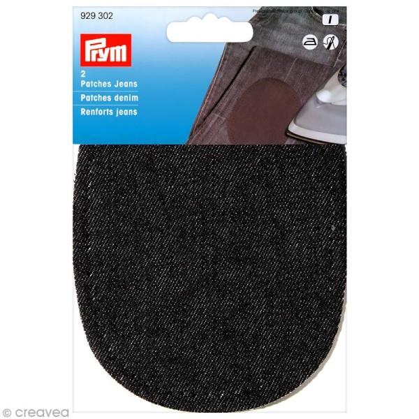 Coude thermocollant - Jeans noir 14 x 10 cm - 1 paire - Photo n°1