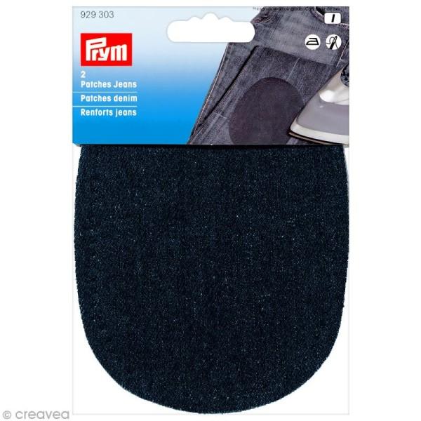 Coude thermocollant - Jeans bleu foncé 14 x 10 cm - 1 paire - Photo n°1