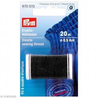 Fil élastique à coudre noir - 0,5 mm x 20 m
