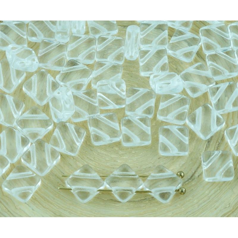 30pcs Picasso Argent Blanc Plat Carré 2 Deux Trou de Verre tchèque Perles de 6mm
