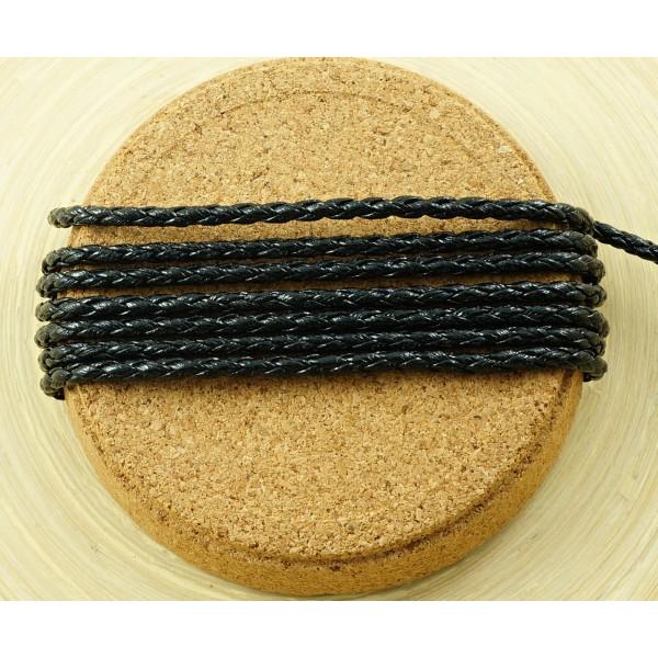 2M 6.6 Ft 2.2 M Noir en Cuir Tressé Cordon de Fausse PU Perles Décoratives Chaîne Tressée en Corde T - Photo n°2