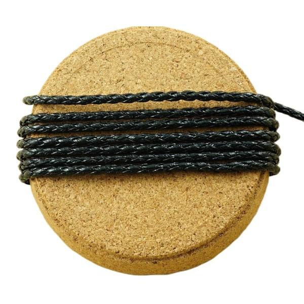 2M 6.6 Ft 2.2 M Noir en Cuir Tressé Cordon de Fausse PU Perles Décoratives Chaîne Tressée en Corde T - Photo n°1