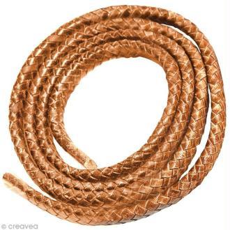 Cordon de cuir tressé 10 mm - Marron - 1 mètre