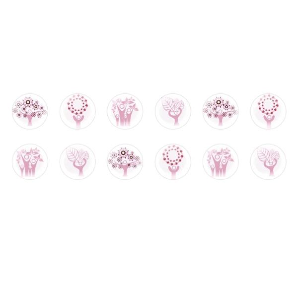 Perle plate Licorne Perle en bois de 31 x 26 mm Rose clair
