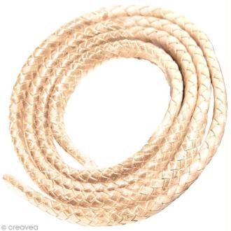 Cordon de cuir tressé 10 mm - Beige - 1 mètre
