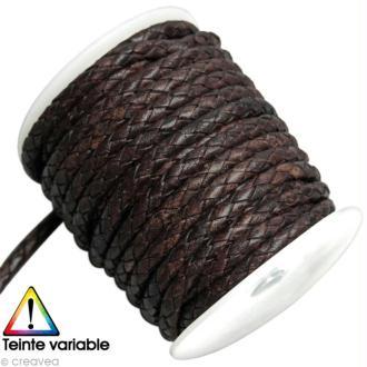 Cordon de cuir tressé au mètre (sur mesure) - Marron - Diamètre (sur mesure) 8 mm