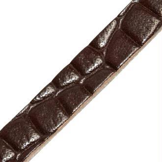 Bande de cuir effet peau de crocodile 10 mm - Marron - 1 mètre