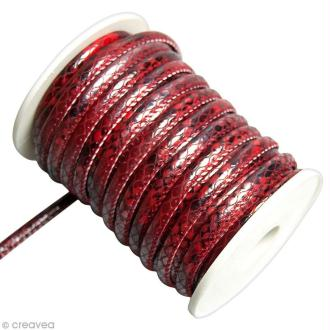 Cordon de cuir au mètre (sur mesure) - Peau de serpent Rouge - 6 mm