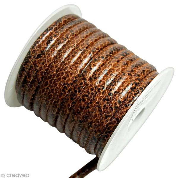 Cordon de cuir au mètre (sur mesure) - Peau de serpent Marron - 6 mm - Photo n°1
