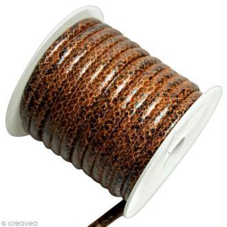 Cordon de cuir au mètre (sur mesure) - Peau de serpent Marron - 6 mm