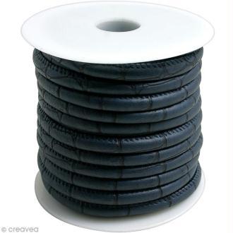 Cordon de cuir au mètre (sur mesure) - Croco bleu marine  - 6 mm