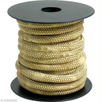 Cordon de cuir au mètre (sur mesure) - Peau de serpent Beige - 6 mm