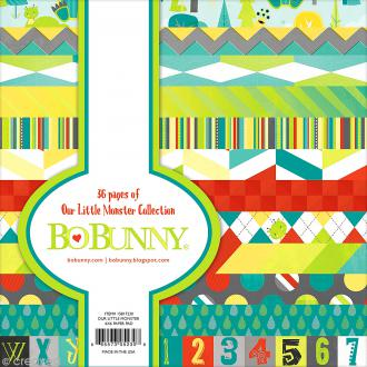 Papier scrapbooking Bo Bunny - Our lil'monster - 36 feuilles 15,2 x 15,2 cm