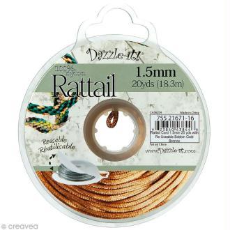 Cordon queue de rat Or en nylon - 1,5 mm - 18 mètres