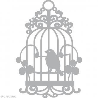 Pochoir inversé scrapbooking (stencil mask) - A5 - Cage à oiseaux