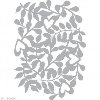 Pochoir inversé scrapbooking (stencil mask) - A4 - Coeurs et feuilles