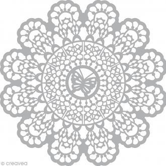 Pochoir inversé scrapbooking (stencil mask) - 30 x 30 cm - Papillon et dentelle