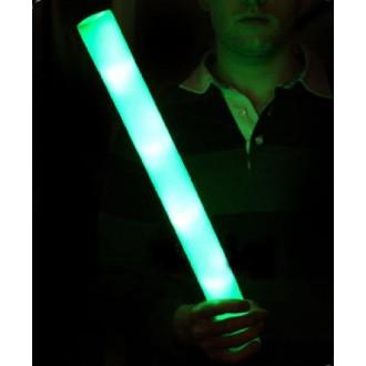 12 Bâtons mousse lumineux vert 48 cm