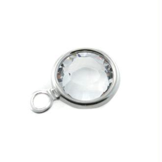 Breloque crystal SS29 Swarovski sertie argenté
