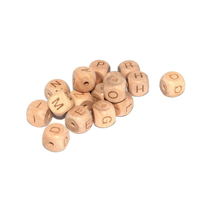 lettre n cube 12 mm en bois naturel perles alphabet creavea. Black Bedroom Furniture Sets. Home Design Ideas