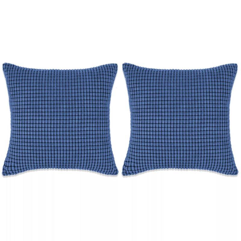 vidaxl jeu de coussin 2 pcs velours 60 x 60 cm bleu coussins pour fauteuils et canap s creavea. Black Bedroom Furniture Sets. Home Design Ideas