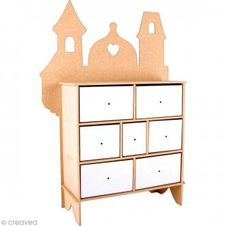 Kit commode en Mdf à monter - 7 tiroirs - 31,5 x 10,4 x 45,1 cm