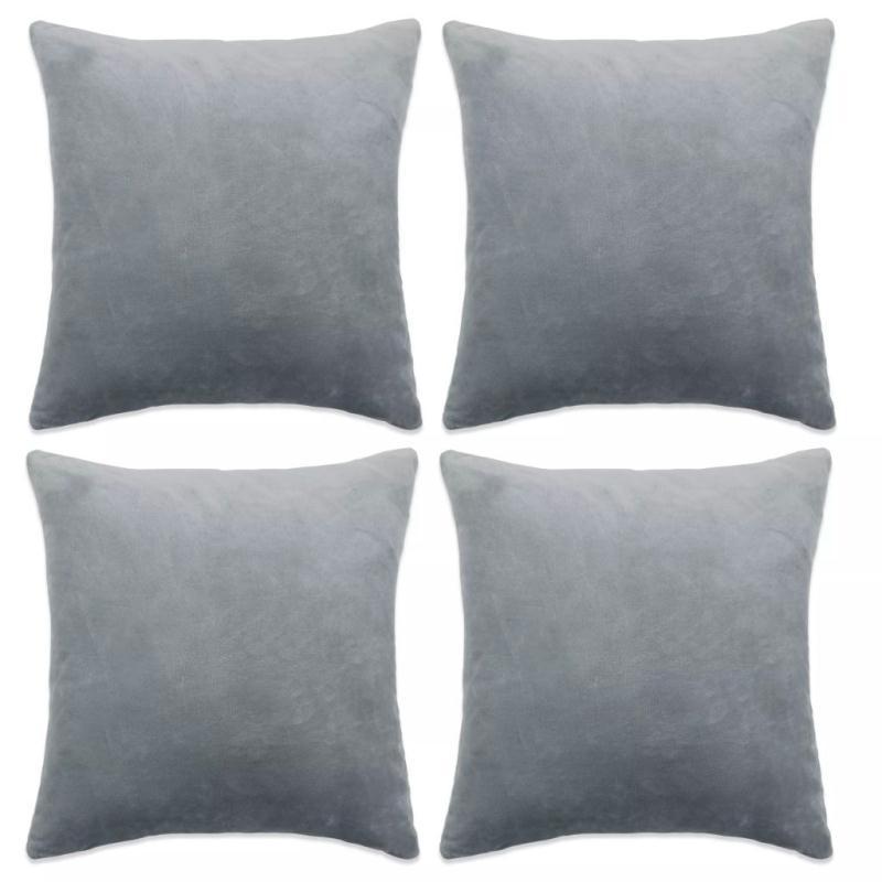 vidaxl housse de coussin 4 pcs velours 50 x 50 cm gris coussins pour fauteuils et canap s. Black Bedroom Furniture Sets. Home Design Ideas