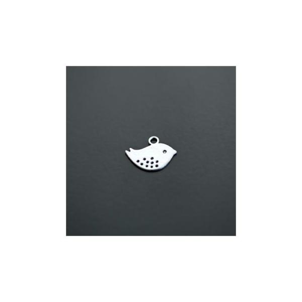 Breloque Oiseau Twitter Plat Argent vieilli x 16pcs - Photo n°1