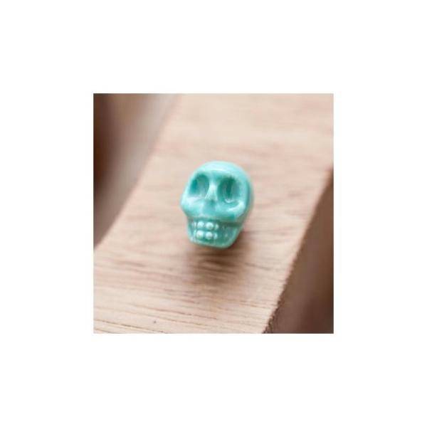 Perle en Porcelaine Tête de mort - Skull 13mm Bleu Turquoise x 3 - Photo n°1