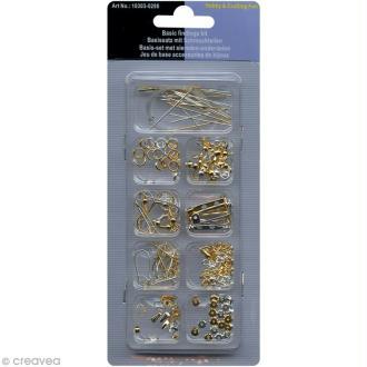 Kit accessoires bijoux argentés et dorés - 62 pcs
