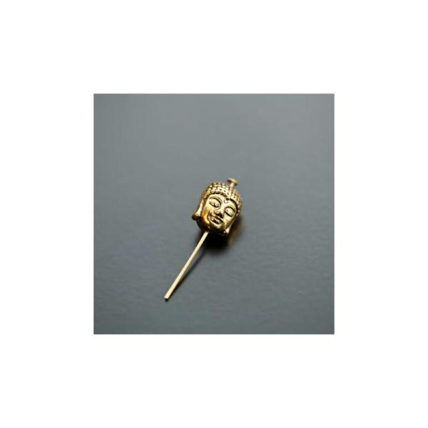 Perle en métal Tête de Bouddha 11x9mm Doré x 4pcs - Photo n°1