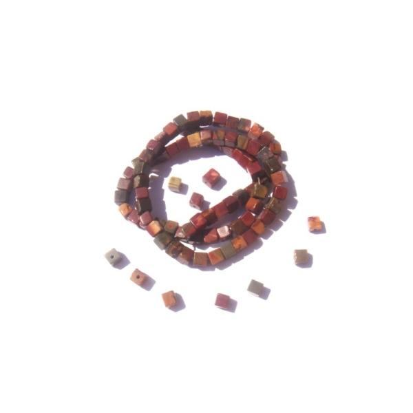 Jaspe Picasso : 15 Perles cubes irrégulières 4 MM environ de côtés - Photo n°2