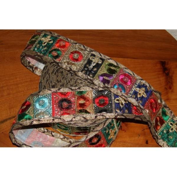 Galon ethnique patchwork, ruban de 5.5 cm de large - Photo n°2